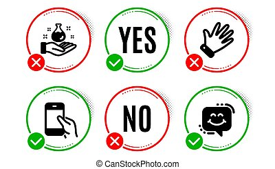 Hold smartphone, Hand and Chemistry lab icons set. Smile chat sign. Phone call, Waving palm, Laboratory. Vector