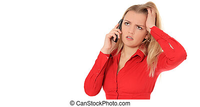 Attractive blonde woman is placed on hold. All on white background.