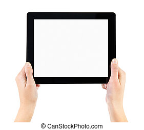 holde, elektroniske, pc. tablet, ind, hænder