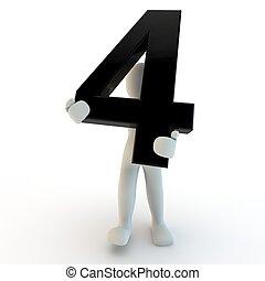 holde, folk, karakter, nummerer 4, sort, menneske, lille, 3