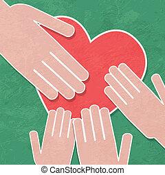 holde han, charity., hånd, heart.