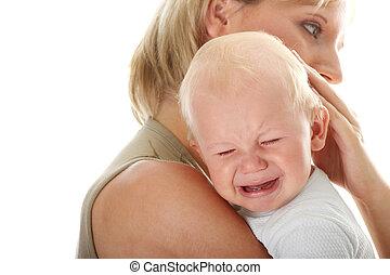 holde, hende, isoleret, græderi, mor, baby
