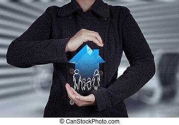 holde, hus, forsikring, forretningsmand, ikon, familie, 3, hånd, begreb