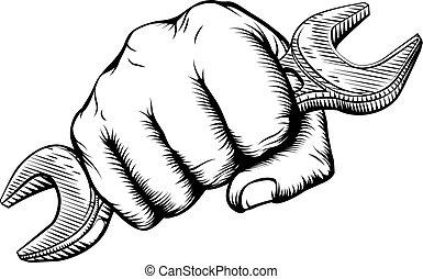holde skiftenøgl, hånd, skruenøgl, woodcut, næve