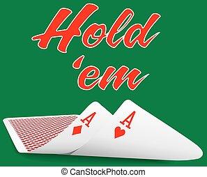 holdem, ポーカー, 対, エース, カード, 下に