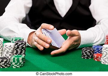 holdem, casino, naipes, pedacitos, comerciante