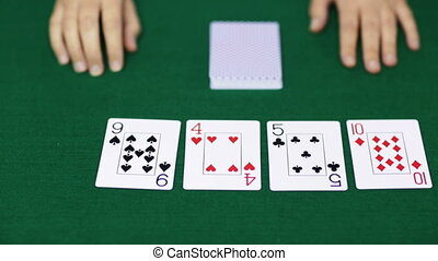 holdem poker dealer with playing cards