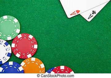 holdem, ruimte, casino, zak, azen, tafel, kopie, frites, texas