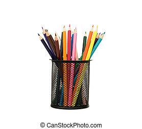 holder basket full of colored pencils