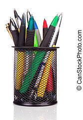 holder basket full of colorful pens isolated on white
