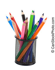 holder basket full of pencils on white