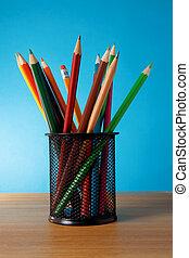 holder basket full of pencils