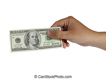 Holding 100 Dollar Bill - Image of a hand holding 100 Dollar...