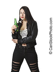 Holding a beer