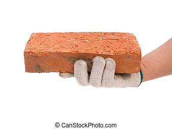 holding a brick with clipping path