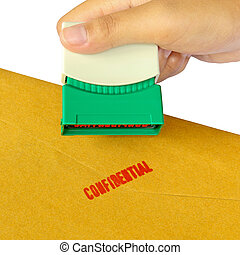 Holding a confidential stamper isolated over white...