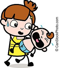 Holding a Crying Baby - Cute Girl Cartoon Character Vector Illustration