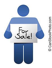 holding a for sale sign. illustration design over a white...