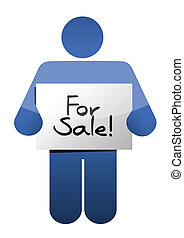 holding a for sale sign. illustration design over a white ...