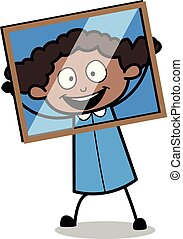 Holding a Glass Frame in Front of Face - Retro Black Office Girl Cartoon Vector Illustration