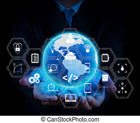 Coding software developer work with augmented reality dashboard computer icons of scrum agile development and code fork and versioning with responsive cybersecurity. businessman holding a glowing earth globe.