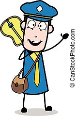 Holding a Guitar and Gesturing with Hand - Retro Postman Cartoon Courier Guy Vector Illustration
