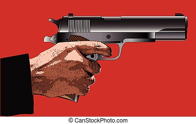 Holding a Gun - A typical 45 automatic hand gun with hand