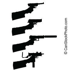 holding a gun vector silhouettes
