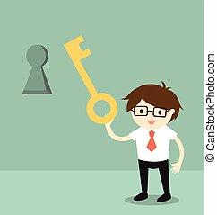 Holding a key to unlock keyhole