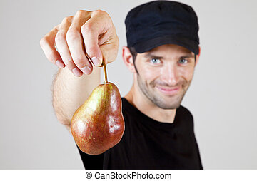 holding a pear 3