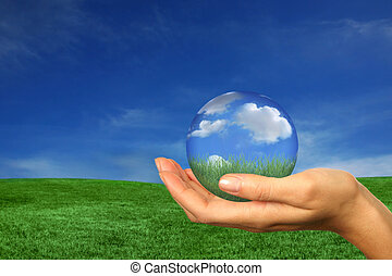 Holding a Perfect Version of Earth - Woman Holding a Perfect...