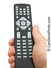 holding a remote control on white with clipping path