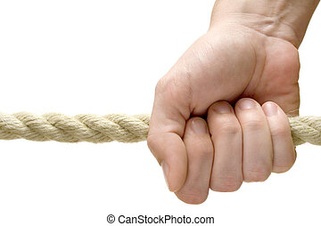 Holding a Rope - Female fingers holding a rope. Isolated on...