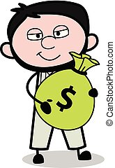 Holding a Sack of Money - Retro Repairman Cartoon Worker Vector Illustration