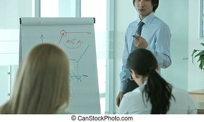 Confident young man holding a business presentation in front of his colleagues