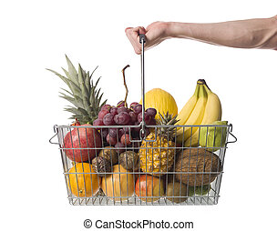 Holding a shopping-basket of fruit