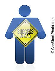 holding a success sign. illustration design
