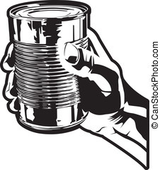 Holding a Tin Can - This is a vector illustration of a hand...