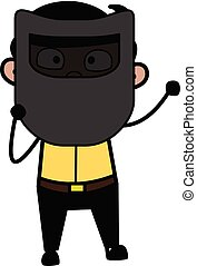 Holding a Welding Mask in Front of Face - Indian Cartoon Man Father Vector Illustration