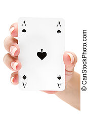 Holding an Ace of Spades - Female holding an ace of spades....