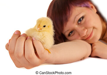 Holding an easter chick