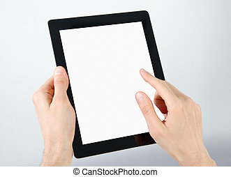 Man hands holding and point on electronic tablet pc with blank screen.