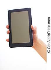 holding and touching on tablet pc.