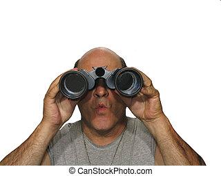 Holding Binoculars