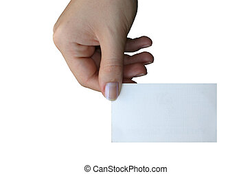 holding blank business card #3