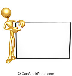 Holding Blank Sign - 3D Concept And Presentation Figure