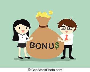 Holding bonus and feeling happy