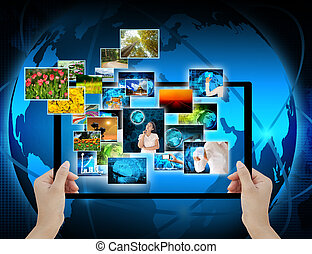 holding Computer display  on technology background