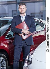 Holding documents of the car