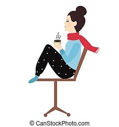 holding donna, caffè, boccale tè, sedia, godere, lei, bevanda, in, tempo freddo